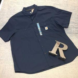 Carhartt navy blue button up shirt